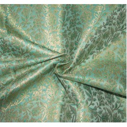 "Brocade Fabric rich green  x metallic gold color 44"" Bro676[2]"