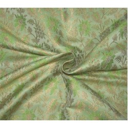 "Brocade Fabric green  x metallic gold color 44"" Bro676[4]"