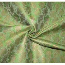 "Brocade Fabric green  x metallic gold color 44"" Bro676[5]"
