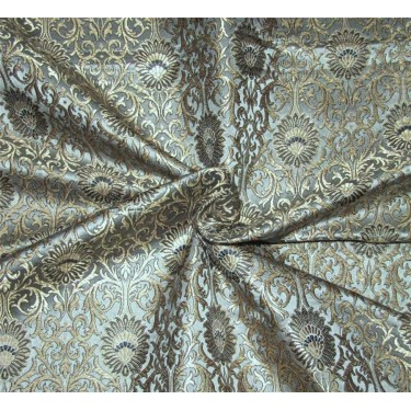 Brocade Fabric grey /black x metallic gold Color 44''wide BRO670[1]