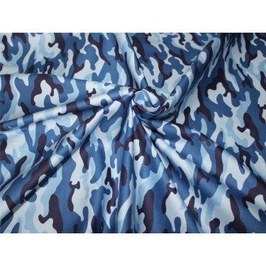 "100% cotton lycra twill 60mm 58"" wide blue camoflauge print"