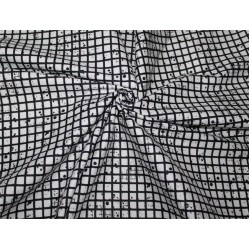 "100% cotton lycra twill 60mm 58"" wide black and white plaids dots"