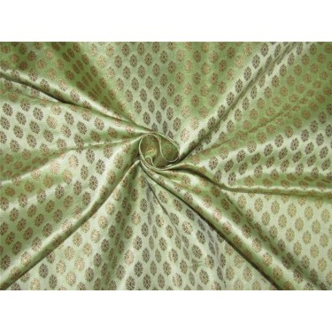 "Brocade fabric mint green x metallic gold color 44""wide Bro641[2]"