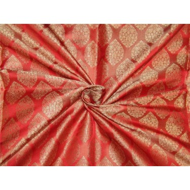 """Brocade fabric Red x gold color 44""""wide Bro641[1]"""
