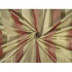 100%silk taffeta jacquard with stripe salmon x gold 54'' wideTAF#SJ/3
