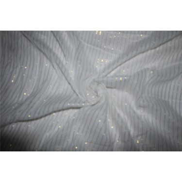 White cotton fabric with Gold color stripe lurex weave 44''