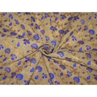 "Brocade fabric royal blue / beige x metallic gold 44""wide Bro634[3]"