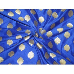 "Brocade fabric Blue x metallic gold color 44""wide Bro636[4]"
