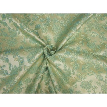 "Brocade fabric Cream x sea blue with gold lurex color 54""wide Bro638[4]"