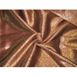 "Brocade fabric maroon x metallic gold color 44""wide Bro640[1]"