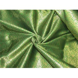 "Brocade fabric Green x metallic gold color 44""wide Bro640[3]"