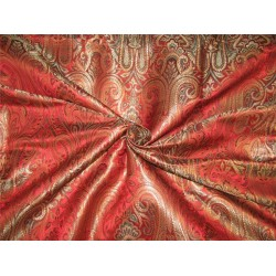 Brocade fabric Red / green x metallic gold color 44''wide BRO647[1]