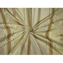 "Silk Taffeta Fabric champagne x gold satin stripes TAFS155[3] 54"" wide sold by the yard"