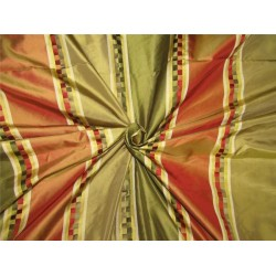 "Silk Taffeta Fabric Red/ green /gold satin stripes TAFS155[1] 54"" wide sold by the yard"