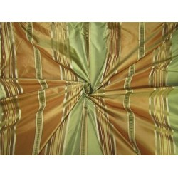 "Silk Taffeta Fabric golden / brown /green satin stripes 54"" wide TAFS155[2]"