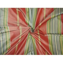 "Silk Taffeta Fabric coral with multi color StripeTAFS85 54"" wide sold by the yard"
