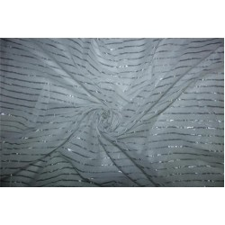 White cotton fabric with Silver color stripe lurex weave 44''