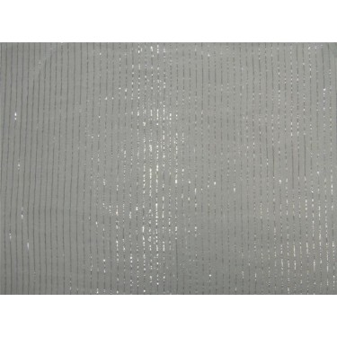 White cotton fabric with Silver color  5mm stripe lurex weave 44''