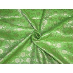 "Brocade fabric green x metallic gold color 44"" Bro637[2]"