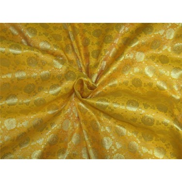 "Brocade fabric Bright yellow x metallic gold color 44"" Bro637[3]"