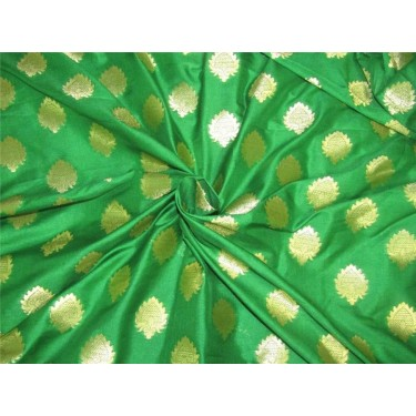 "Brocade fabric Green x metallic gold color 44""Wide Bro636[5]"