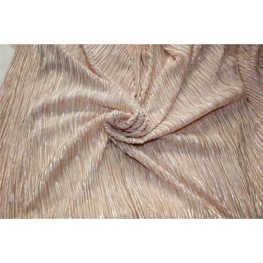 Pleated lurex Fabric pastel peach x silver color 58'' Wide FF1[6]