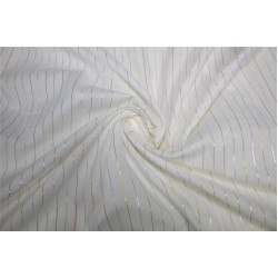 White heavy cotton fabric with gold x Silver color stripe lurex weave 44''