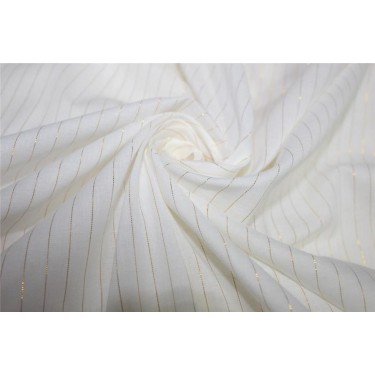 White heavy cotton fabric with gold color stripe lurex weave 44''