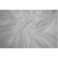 White heavy cotton fabric silver color stripe lurex weave 44''