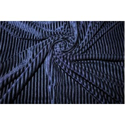 Knitted velvet stripe fabric navy blue color 60'' wide FF6[2]