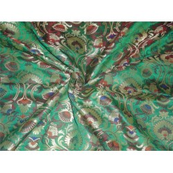 brocade fabric green and multi color floral design BRO550[1]