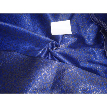 brocade fabric royal blue and ANTIQUE metalic gold  BRO557[3]