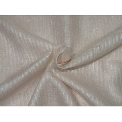 """Thin 27 mm egg shell  pure linen fabric with silver lurex stripe 58""""wide"""