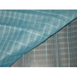 Clear Water Blue color Cotton Organdy Plaids~Width 44""