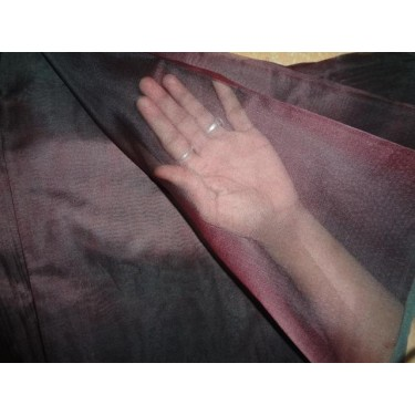 "dark maroon x black silk organza 110"" wide"