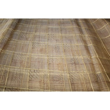 100% silk organza plaids gold with abstract design fabric 44""