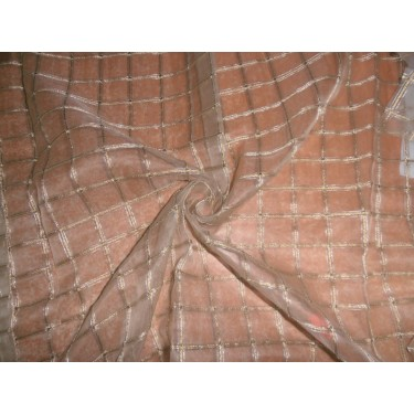 silk organza mettalic gold plaids+ silver threads   fabric 44""
