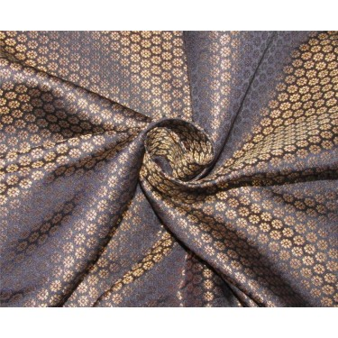 "Brocade fabric navy blue metallic gold color 44""wide Bro621[3]"