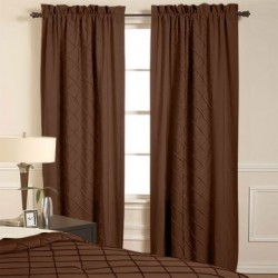 Pintuck Window Curtains (2 Panels), Chocolate or black