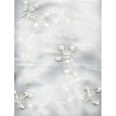 "White silk chiffon fabric 44""-embroidered with white floral design"