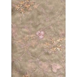 skin beige silk organza embroidered 44