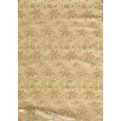 "Silk brocade fabric 44"" beige floral"