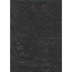 Black silk organza fabric- emb. w/ ribbon flowers 44