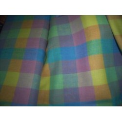 "linen plaid fabric 58"" MULTI COLOUR PLAIDS{"