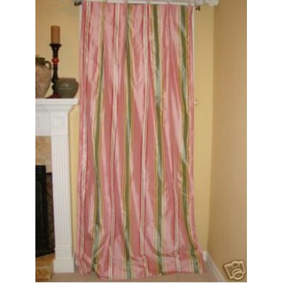 Green Stripe Silk Dry Panels Ds Curtains