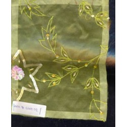 silk organza light yellow{embroidered}