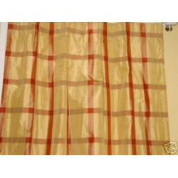 Rust Gold Check Silk Drapery Panels Curtains