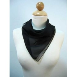 Black Silk satin square scarf 42 x 42""