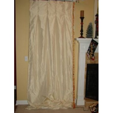 4 Custom Ivory Silk Drapery Panels Curtains