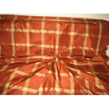 "huge  8""  plaid taffeta drapery fabric~~dark tan with gold  colour plaids"